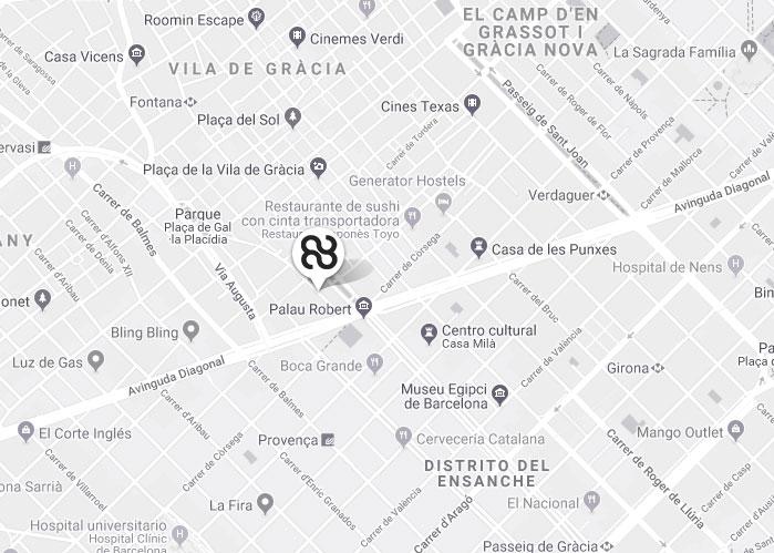 Localización Hotel Barcelona CoolRooms